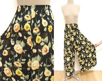 Vintage Daisy Wide Leg Pants XS/S // accordion pleats at waist, semi sheer 1990s maxi skirt look
