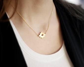 Evil Eye Necklace-Matte Gold Plated Brass