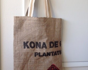 Burlap Tote Bag/ Market Tote/ Beach Bag/ Kona Coffee Sack