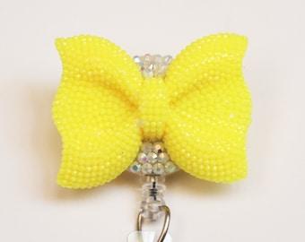 Sunny Yellow Shimmery Bow ID Badge Reel - Retractable ID Badge Holder - Zipperedheart