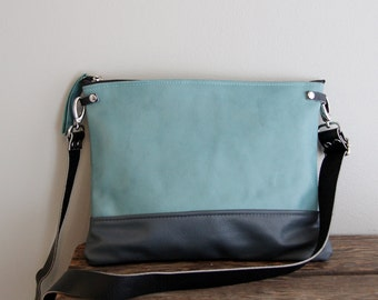 Aqua Teal Blue and Dark Grey Leather Purse Clutch