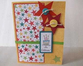 Handmade Card, Celebrate Card, Happy Birthday Card, Handmade Greeting
