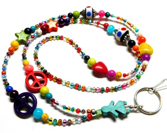 TIME To Play ~  Beaded ID Lanyard / Lampwork / ID Badge Holder  / Teacher / Student / Gift / Keyholder, Keychain