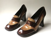 R e s e r v e d.....90s vintage Prada Two-Tone Brown Patent Leather Chunky High Heel Loafers / 1990's Prada Designer Shoes / Made in Italy