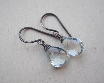 Genuine aquamarine gemstone faceted drop earrings with blackened sterling silver wrap