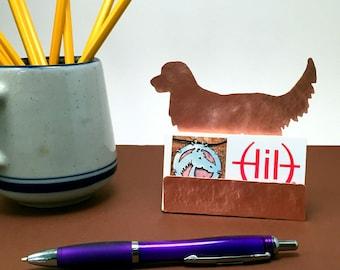 Golden Retriever Business Card Holder, Copper Desk Accessory, Golden Retriever gift, gift for dog lover, golden retriever items, dog gifts
