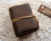 The Traveler - Rustic Leather Journal, Dark Brown, Vintage Linen Tie, Tea-Stained Pages, OOAK