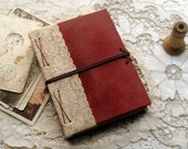 Memories - Burgundy Leather & Vintage Lace Journal, Tea Stained Pages, OOAK