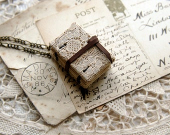 Tiny Tales No.5 - Miniature Wearable Book, Vintage & Lace, Tea Stained Pages, OOAK
