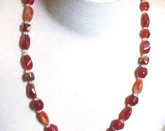 50% OFF Shades of Red Glass Beads Many Shapes and sizes Vintage Necklace