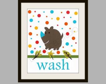 FREE SHIPPING- Rhino Art Print, Children's Art Print, Kohl's Jumping Bean Safari Bath Art Print, 8x10, Personalized