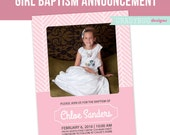LDS Baptism Invitation, Girls Baptism Announcement, Great to be 8, Pink, Photoshop File, customization available read in description