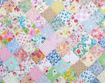 Dollhouse Miniature Small Scale Computer Printed Vintage Quilt Top Floral
