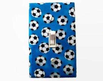 Soccer Light Switch Cover - Sport Switch Plate Cover - Blue Sports Room - Soccer Boys Bedroom - Girls Soccer Room - Kids Sports Decor