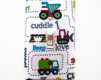 Truck Light Switch Cover - Trucks Switch Plate - Construction Truck Bedroom - Boys Truck Room - Boys Truck Nursery Decor - Construction Room