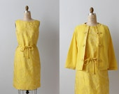 Vintage 1960s Golden Yellow Sheath Dress with a Matching Cashmere Sweater / Shift Dress / Dynasty Collection