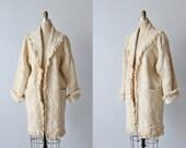 Vintage Blanket Coat / Car Coat / Coat with Fringe / Cotton Mud Cloth