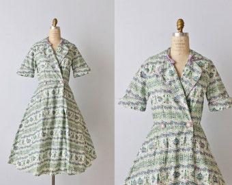 Vintage 1950s Dress / 50s Novelty Print Dress / Day Dress / House Dress / Campus Girl