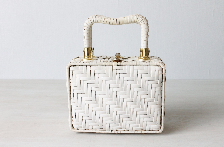 Vintage White Wicker Handbag Purse Wicker Purse Classic