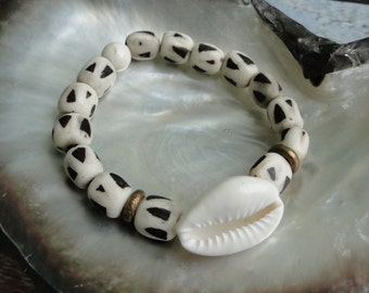COWRIE SHELL with BONE Bead Bracelet, yoga, boho, tribal
