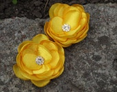 Bright Yellow Satin Flower Brooches Bobby Pins Shoe Clips SET OF 2