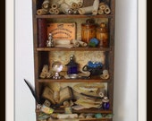 Gothic Witch dollhouse miniatures cabinet dresser bookcase ooak wizard steampunk leonardo da vinci
