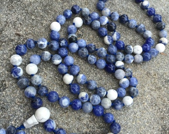 Sodalite 108 Bead Mala Necklace