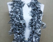 GladRagz Circle of Chains Necklace Scarf in Black and Gray Chiffon Ready to Ship Infinity Circle Shredded Knotted Scarf