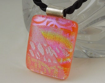 Dichroic Fused Glass Pendant - Fused Glass - Dichroic Glass Pendant - Mosaic Pendant - Dichroic Jewelry - Orange Necklace 6520