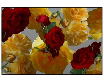 Rose photo rug, rubber backed rug, yellow rose rug, red yellow floor mat, rose photo area rug, floral living room, rose bathroom mat