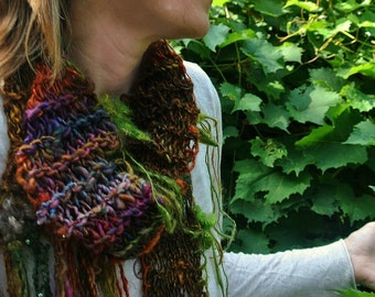 hand knit scarf extra long handspun art yarn scarf autumn gypsy boho scarf - autumn morning walk