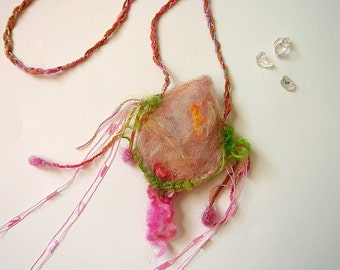 crystal fairy pouch - needle felted leaf and rose fairy pouch from the enchanted forest