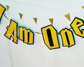 Harry Potter Highchair Banner, I AM ONE Banner, Harry Potter Birthday Banner, Harry Potter First Birthday Party Banner, Harry Potter Party