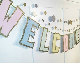 WELCOME BABY Banner, Baby Shower Banner, Pastel Baby Shower Banner, Unknown Gender Baby Shower, Unisex Baby Shower Banner, Glitter Banner