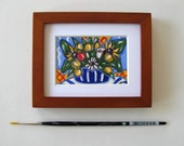 "Original Garden Flowers still life acrylic painting, brown wood frame, tulips, sunflowers, daisy, French Country decor, 5"" x 4"", gift idea"