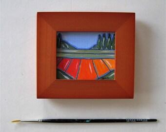 "Miniture Acrylic Landscape Painting, Original on canvas, pen and Ink, Framed art, green trees, Farmhouse decor, 4"" x 3"", fields, gift idea"