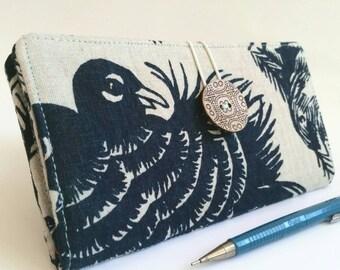 Linen CHECKBOOK COVER Heavy Linen Indigo Blue Fabric Wallet Hand Printed - Little Dove
