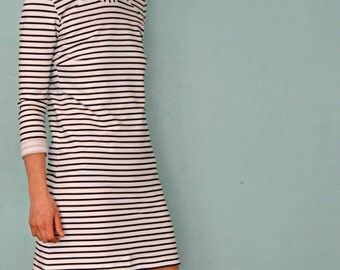 Ladies Black & White Stripe American Made French Terry Knit Dress.