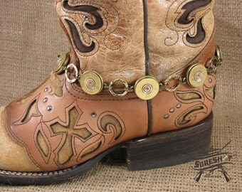 Ladies Accessories - Boot Candy - Bullet Jewelry - 20 Gauge Shotgun Casing Ring Linked Brass Boot Bracelet - Boot Bling