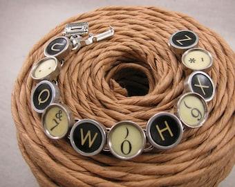 Typewriter Key Jewelry - Authentic Black and Yellow Random Mix Typewriter Key Bracelet