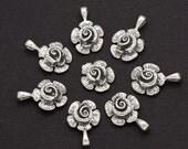 One Sterling Silver Rose Flower Charm Embellishment - R1