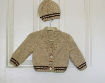Hand Knitted Tan and Dark Brown Baby Boy Sweater with Giraffe Buttons