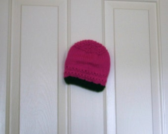Hand Knitted - Bright Pink with Dark Green Trim Baby Hat