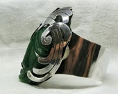 A Sterling Silver and Carved Green Onyx Cuff from Mexico