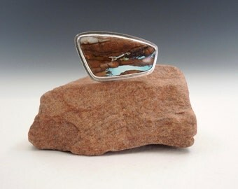 Turquoise Ring, Nevada Boulder Turquoise, Sterling Silver, Handmade