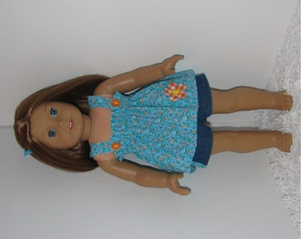 Jean Shorts with Turquoise Smock Top, Fits 18 Inch American Girl Dolls