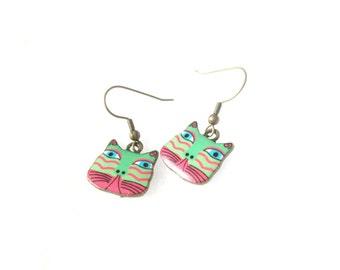 Laurel Burch Colorful Cat Earrings in Pink and Seafoam Green