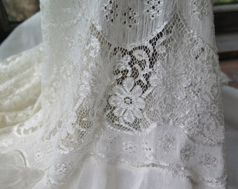 """Vintage Lace Curtain Panel with Flounce/Ruffled Hem Mercerized Cotton Lace 72"""" x 32"""" Wide"""