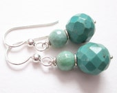 Turquoise Greens, turquoise and peruvian green opal earrings, december birthstone, sterling
