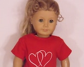 18 Inch Doll Short Sleeved Red Valentines Day Tee Shirt
